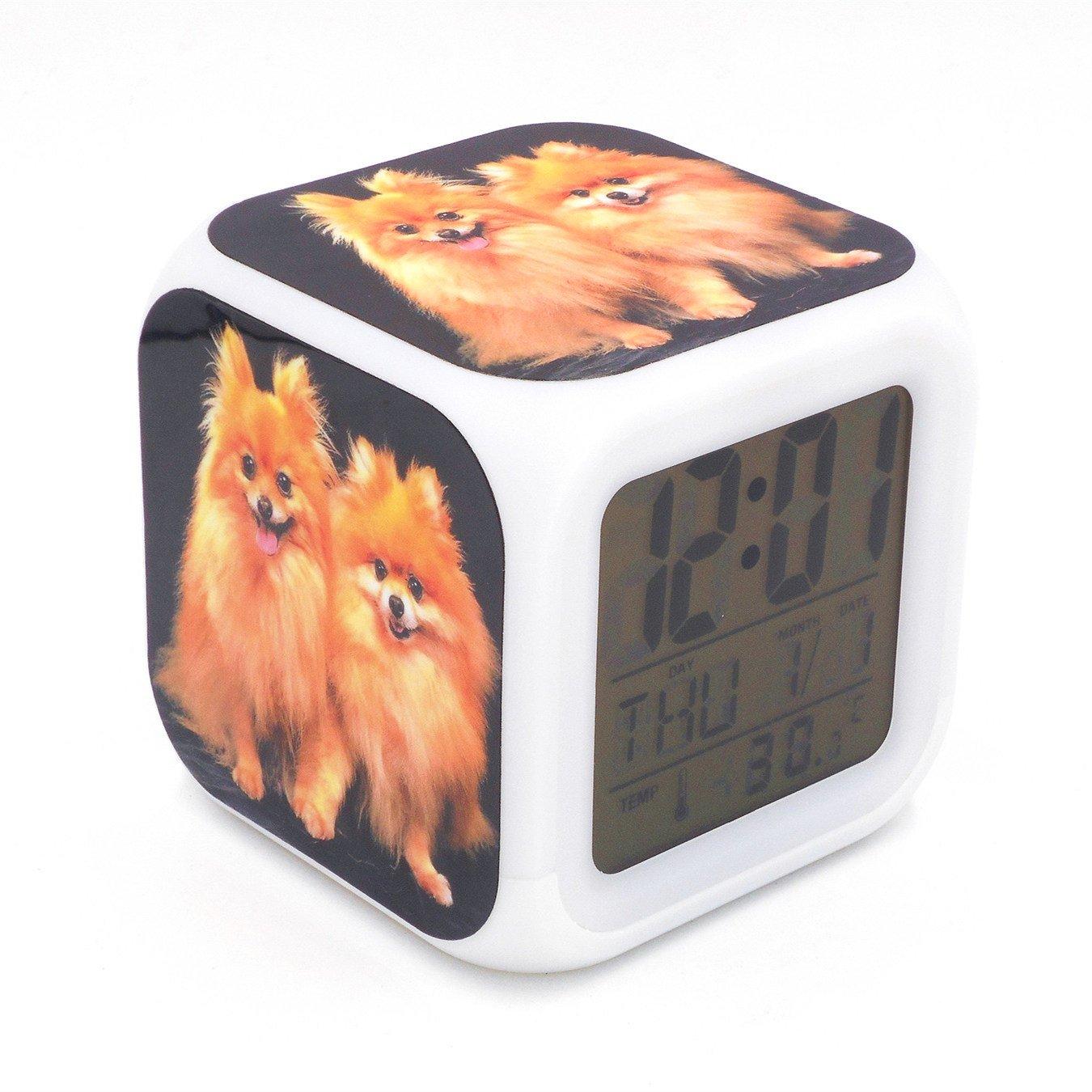 Boyan New Pomeranian Dog Puppy Animal Led Alarm Clock Creative Desk Table Clock Multipurpose Calendar Snooze Glowing Led Digital Alarm Clock for Unisex Adults Kids Toy Gift