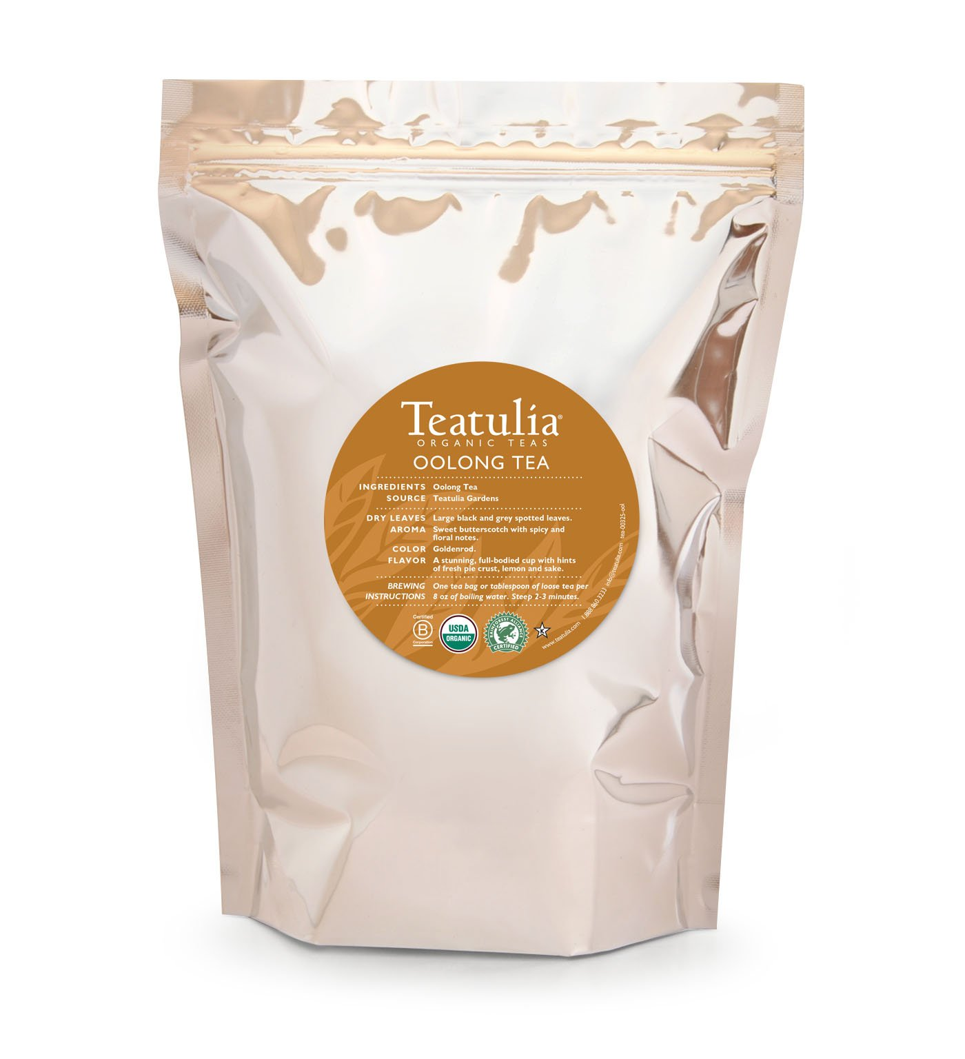 Teatulia Organic Loose Leaf Oolong Tea - 1lb of Tea - 16oz - Brew Hot or Cold