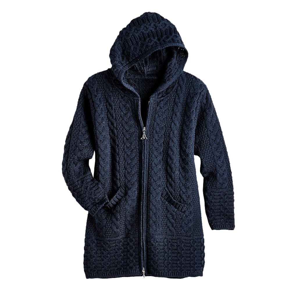 Women's Brigid Hooded Aran Cardigan - Navy - 2X by West End Knitwear