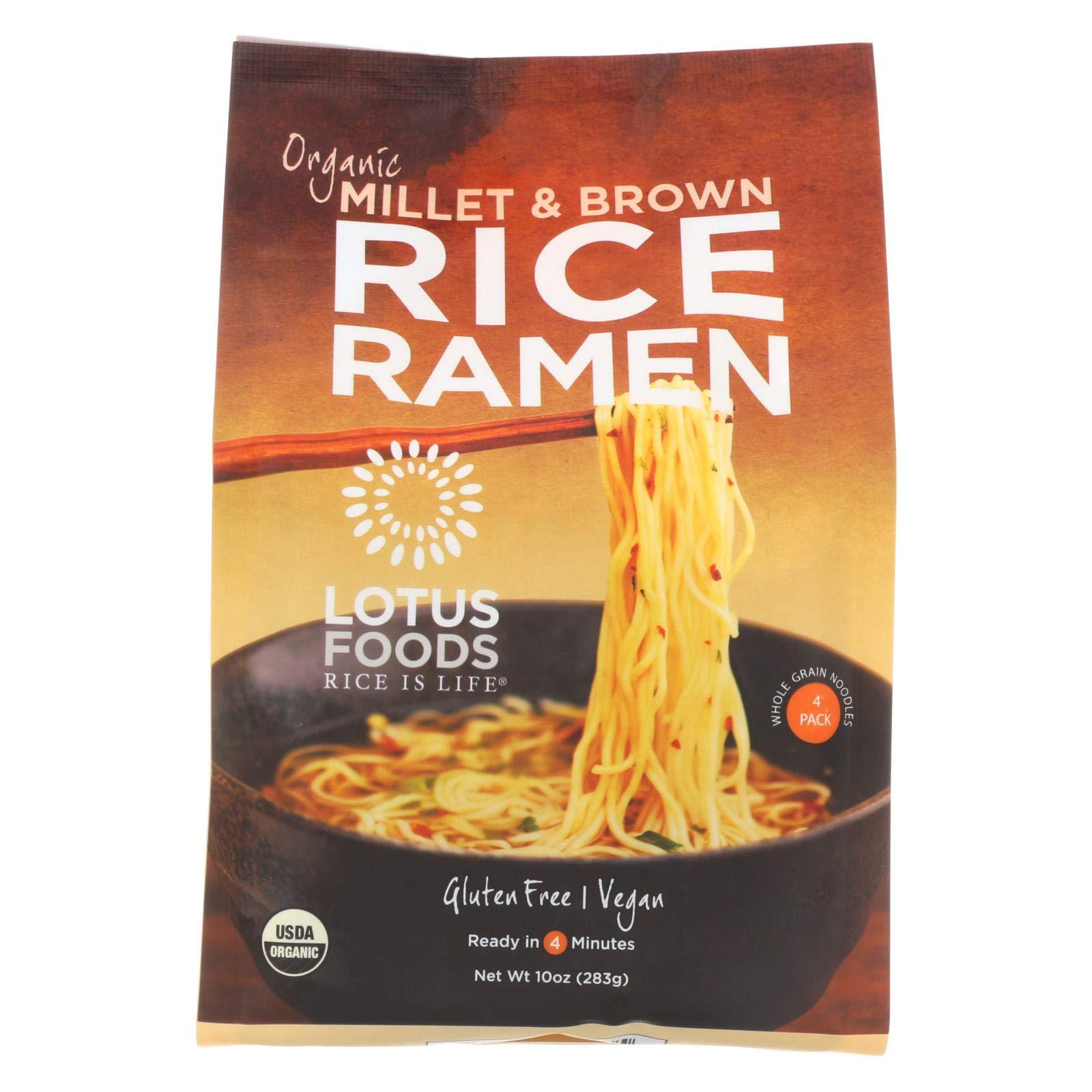 Lotus Foods Organic Millet and Brown Rice Ramen, 10 Ounce - 4 per pack - 6 packs per case. by Lotus Foods