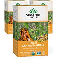 Organic India Tulsi Ashwagandha Herbal Tea - Stress Relieving & Balancing, Immune Support, Adaptogen, Vegan, Gluten-Free…