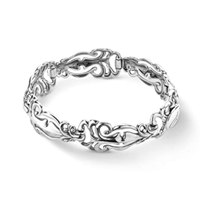 f4b528a21c1 Amazon.com: Carolyn Pollack Sterling Silver Open Filigree Convex Link Bracelet  Size Large: Jewelry