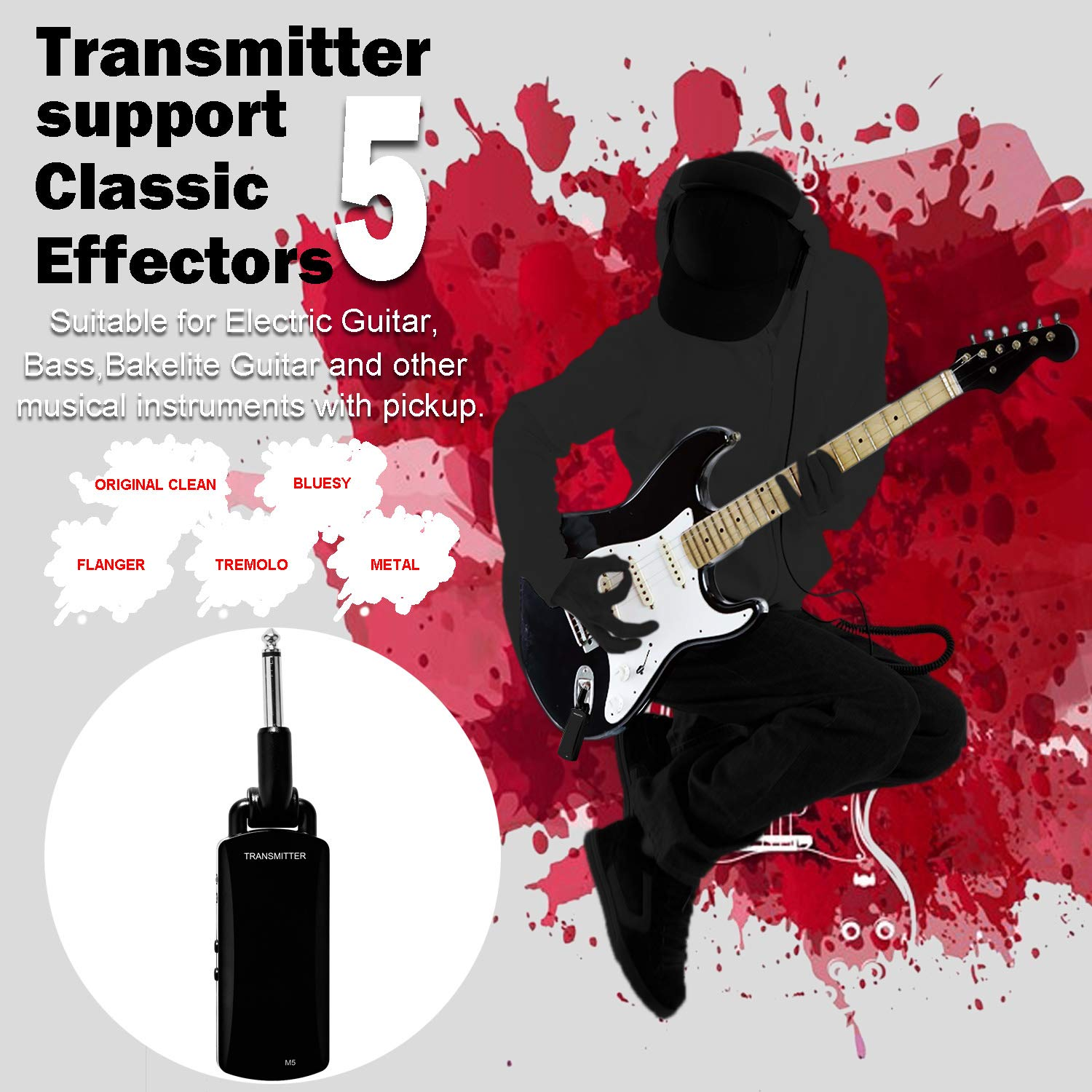 Wireless Guitar System - ZXK CO 5.8GHz Rechargeable Guitar Wireless Audio Transmitter Receiver - Electric Digital Guitar System Transmitter Receiver Set by ZXK CO (Image #6)