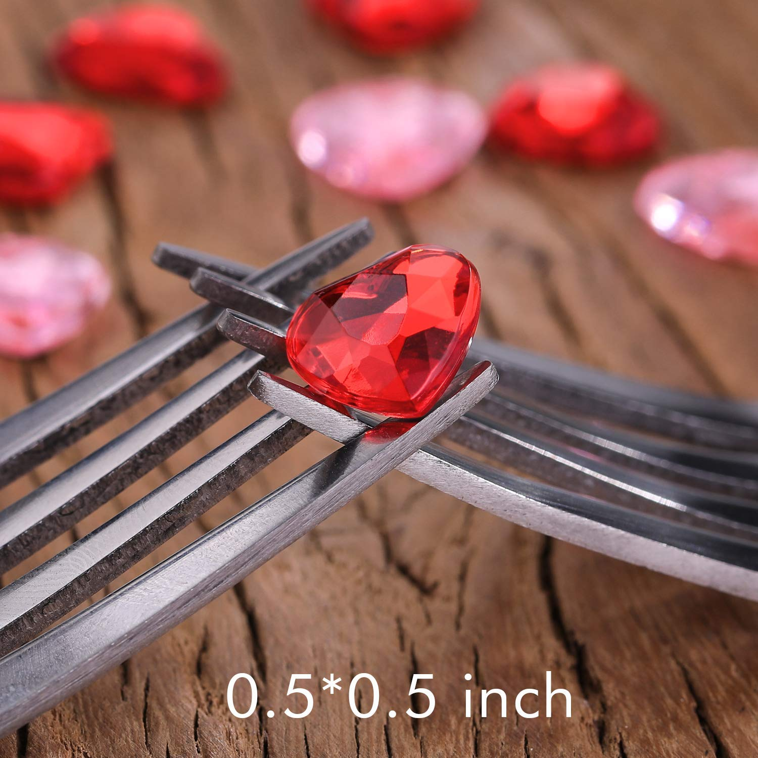 Chengu 300 Pieces Red Acrylic Heart for Valentines Day Flat Back Heart Rhinestones 300 Pieces 0.5 Inch Wedding Heart Table Scatter Decoration