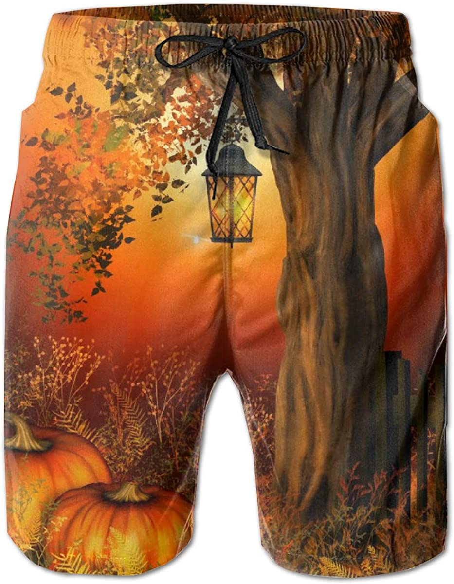 Comfortable Swimsuit with Pockets Yt92Pl@00 Mens 100/% Polyester Autumn Pumpkin and Leaf Beachwear