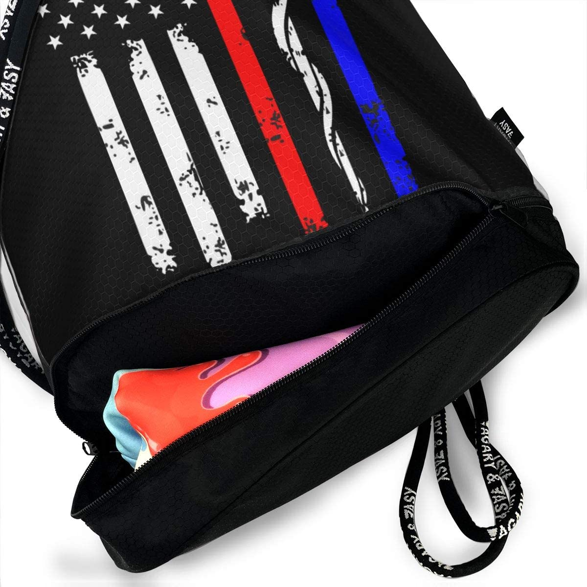 YRAI Drawstring Beam Backpack Police & Firefighter & EMT Flag Bags Travel Gym Tote Cosmetic Bag