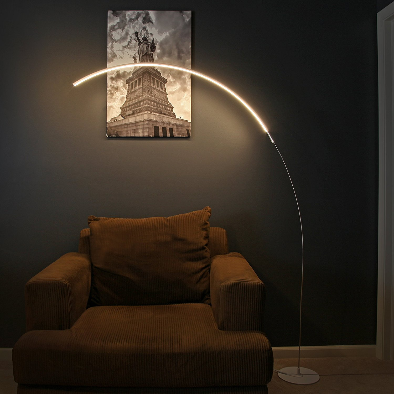 Brightech   Sparq LED Arc Floor Lamp   Curved, Contemporary Minimalist  Lighting Design   Warm White Light   Silver     Amazon.com