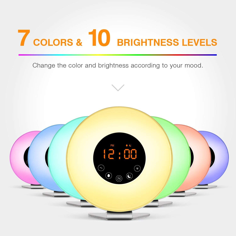 Wake Up Licht, Fukkie Lichtwecker mit Sonnenaufgang Simulation, Simulation, Simulation, FM Radio, 6 Natürliche Sounds und Snooze Funktion, Tageslichtwecker Nachtlicht mit 7 Farben, Nachttischlampe für Erwachsene und Kinder c88045