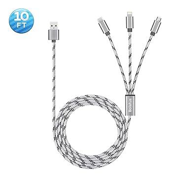 Bolatus [3metros 1Pack] Multi USB Cable, 3 en 1 Cable de Carga Múltiple Cable Cargador de Nylon Trenzado Micro USB Tipo C y Relámpago Compatible para ...