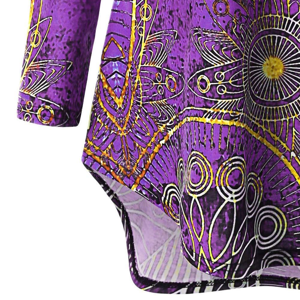 ... Mujer,Mujer Suéter Capucha de Manga Larga, Moda Mujer Largo Manga Cuello en V Asimétrico Étnico Impresión tee Camisa Blusa: Amazon.es: Ropa y accesorios