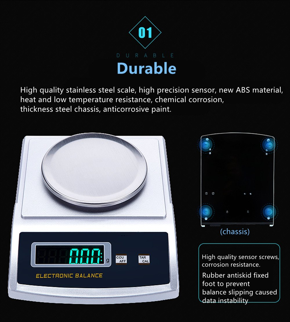 NEWTRY Desktop Precision Electronic Balance Scale LCD Digital Analytic Balance for Gold Jewellery Lab 300g, 0.001g
