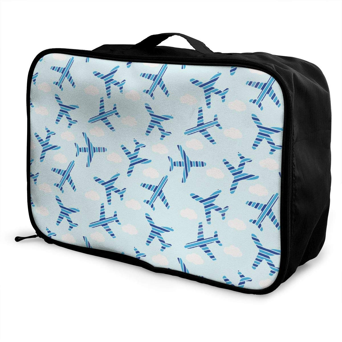 YueLJB Blue Stripe Plane Cloud Lightweight Large Capacity Portable Luggage Bag Travel Duffel Bag Storage Carry Luggage Duffle Tote Bag