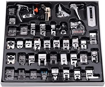 Mainstayae 42 Pcs Sewing Machine Presser Feet Set, Professional Sewing Crafting Presser Foot Feet for Janome Brother Singer Sewing Machine Parts & Accessories, Blind Stitch Darning Presser Feet Kit