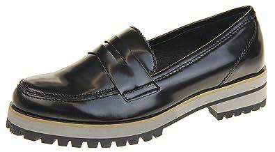 1f3680b1ea5 Keddo Womens Leather Flat Casual Chunky Sole Loafers Black US 5