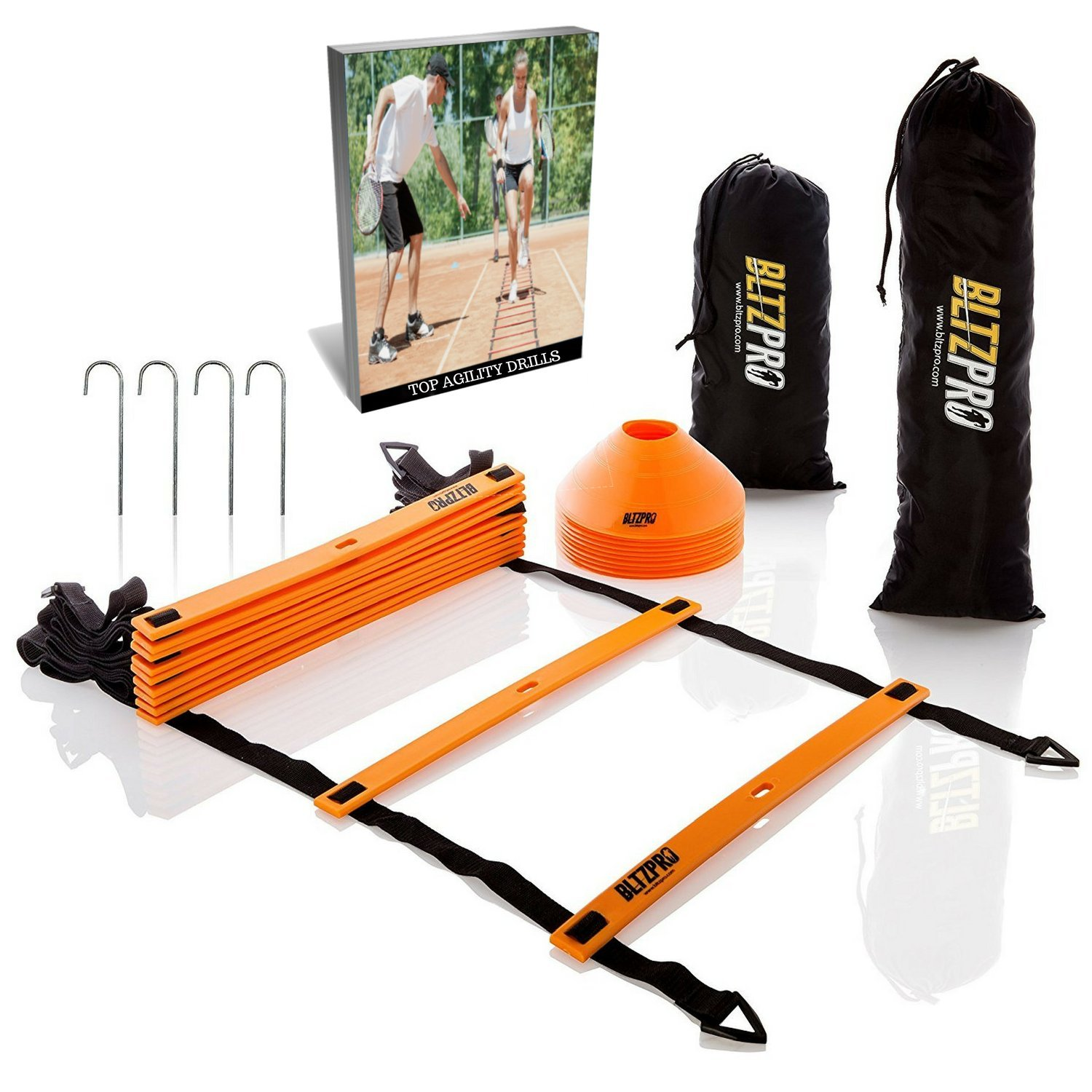 Bltzpro Football and Soccer Training Equipment – Cones & Agility Ladder Speed Practice kit for Kids and Coaches…