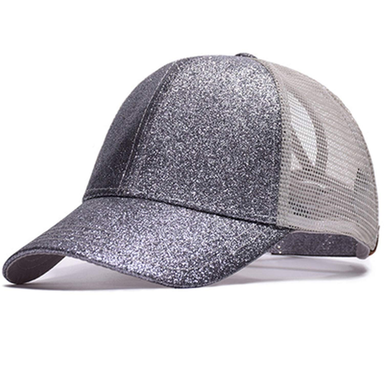 Mageed Anna 1pcs Ponytail Baseball Cap for Women Summer Mesh Casual Hat Fashion Shiny Hip Hop Hats Unisex Basebal Hat