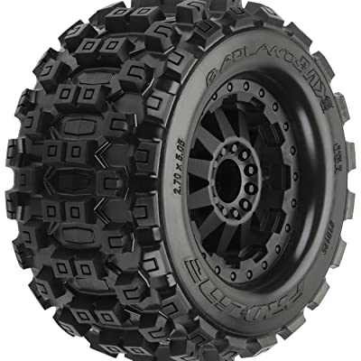 "Pro-Line Racing Proline 1012515 Badland MX28 2.8"" All Terrain Tire on F-11 Black Wheels, Fit Electric Rustler/Stampede Rear: Toys & Games"