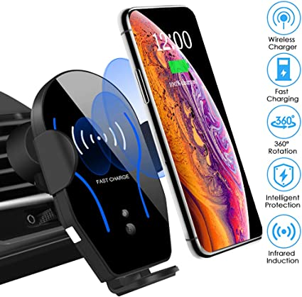Wireless Car Charger Mount Auto-Clamping Air Vent Car Phone Holder 7.5W Fast Charging Compatible with iPhone 11//11 Pro XS//XR 8//8 Plus 10W for Samsung S10//S9//S8 /& Qi-Enabled Phones