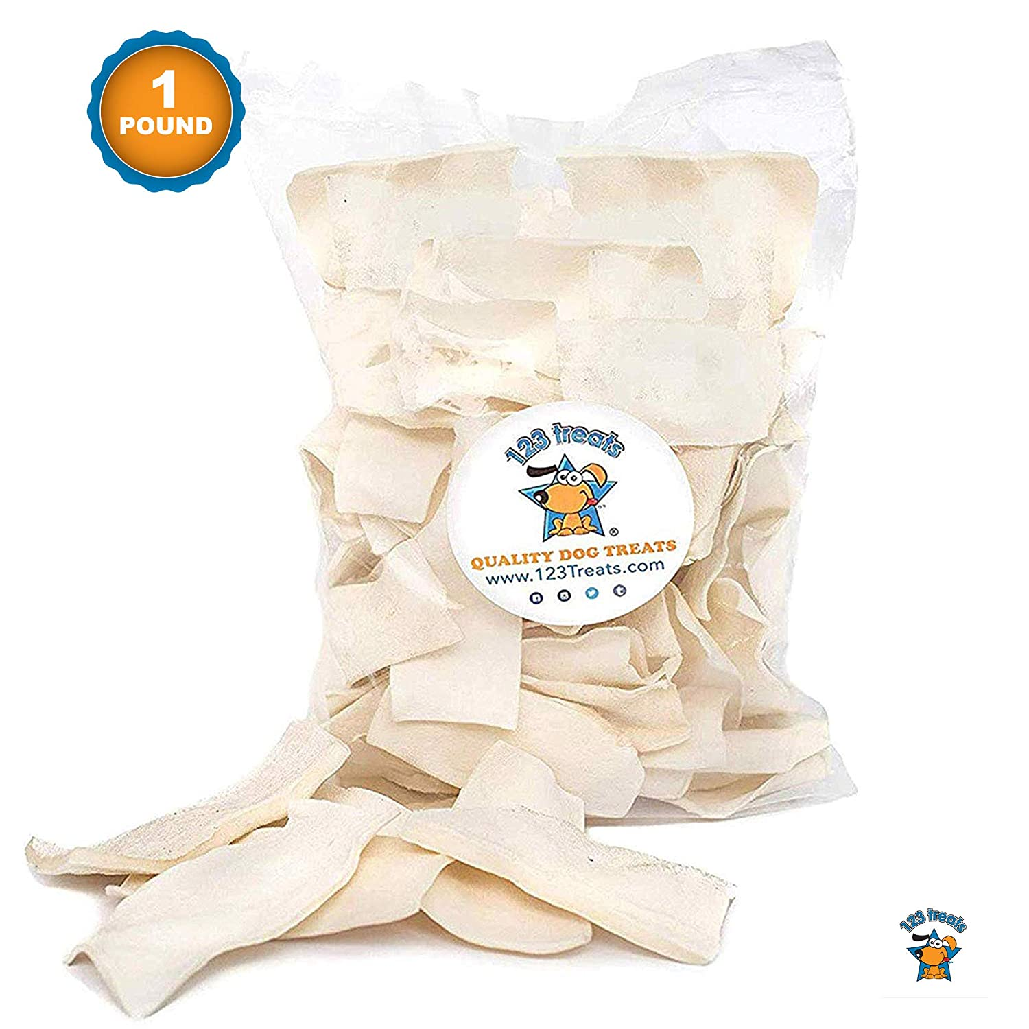 123 Treats - Rawhide Chips Dog Chews | 100% All-Natural Grass-Fed Free-Range Beef Hide for Dogs with No Hormones, Additives or Chemicals