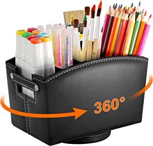 Leather Art Supply Desk Organizer, Rotating Pencil Holder Organizer, Desktop Storage Caddy for Pen, Colored Pencil, Crayon, Paint Brushes, 360 Degree Spinning Works for Classroom, Art Studio, Office