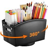 Leather Art Supply Desk Organizer, Rotating Pencil Holder Organizer, Desktop Storage Caddy for Pen, Colored Pencil…