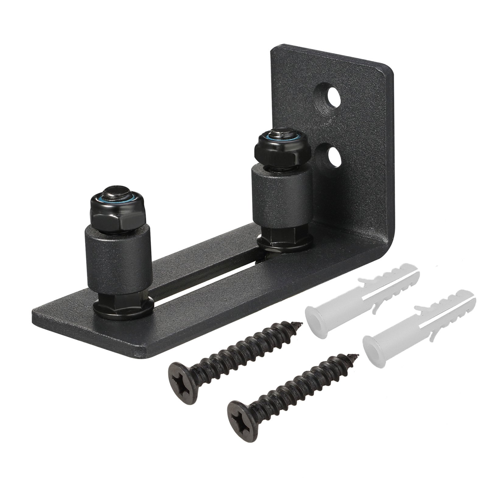 Black Powder Coated Bottom Floor Guide Stay Roller Adjustable Channel for Sliding Barn Door Hardware Wall Mount by Toprema