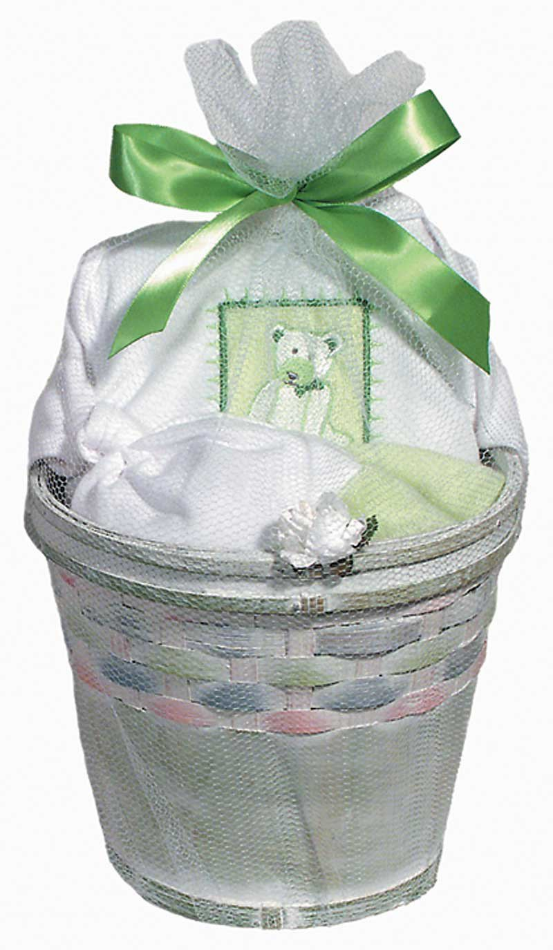 Raindrops Furry Friends Teddy Bear Short Sleeve Body Suit Gift Set, Pistachio Green, 3-6 Months, 4 Piece