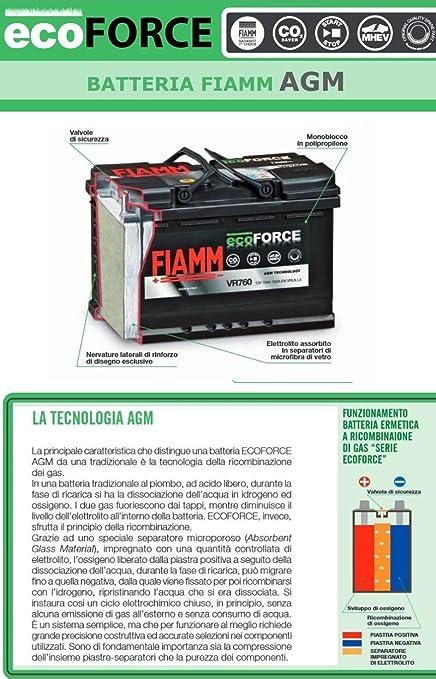 BATTERIA AUTO FIAMM VR900 ECO-FORCE AGM START/&STOP 90Ah 12V