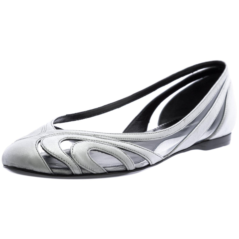 GIORGIO ARMANI Women's Round Toe Flats 8.5 Silver
