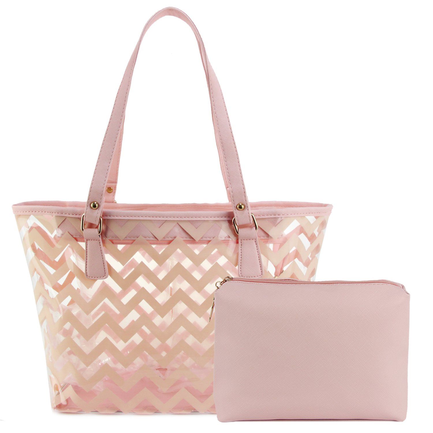 Clear Tote Bags with Full Chevron Prints PVC Shoulder Handbag with Interior Pocket (Pink)