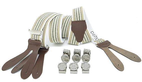 Made in Germany Tirantes y 6 clips de botones para hombres y mujeres con correas de cuero genuino
