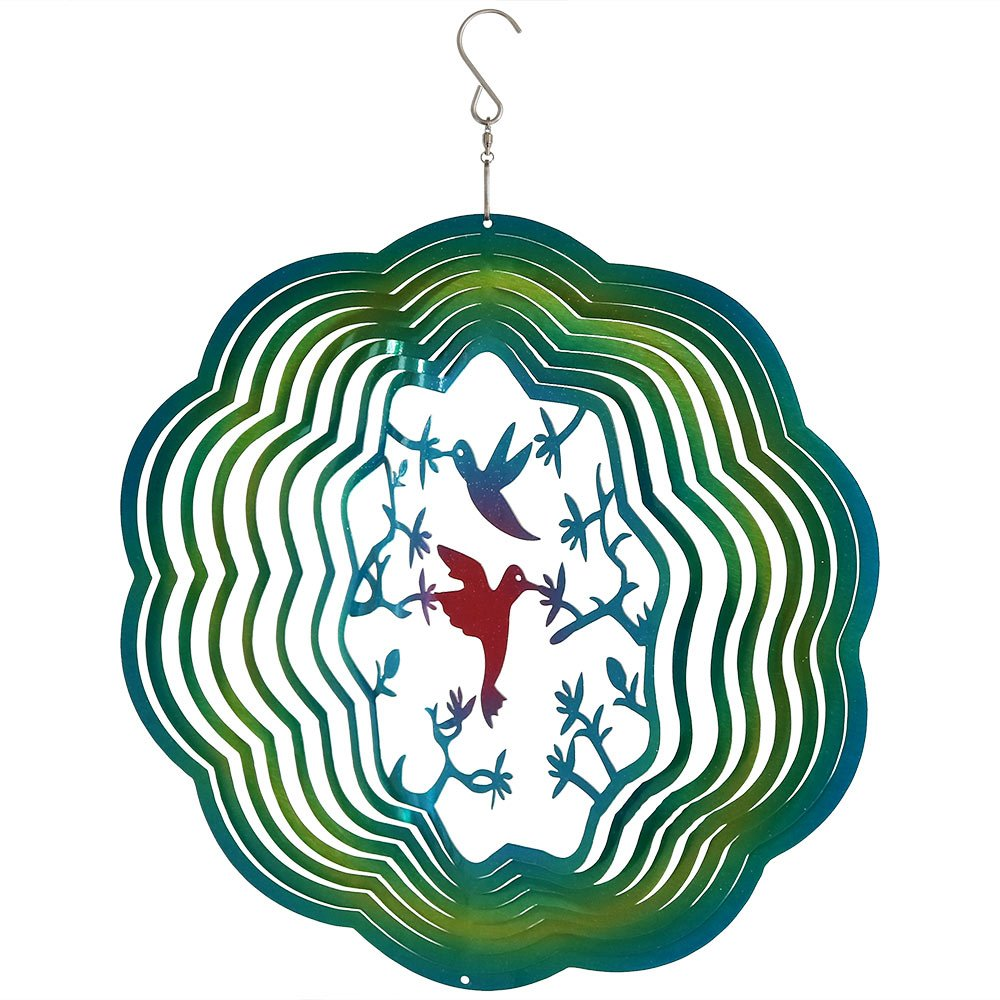 Sunnydaze Reflective 3D Whirligig Turquoise Hummingbird Wind Spinner with Hook, 12-Inch