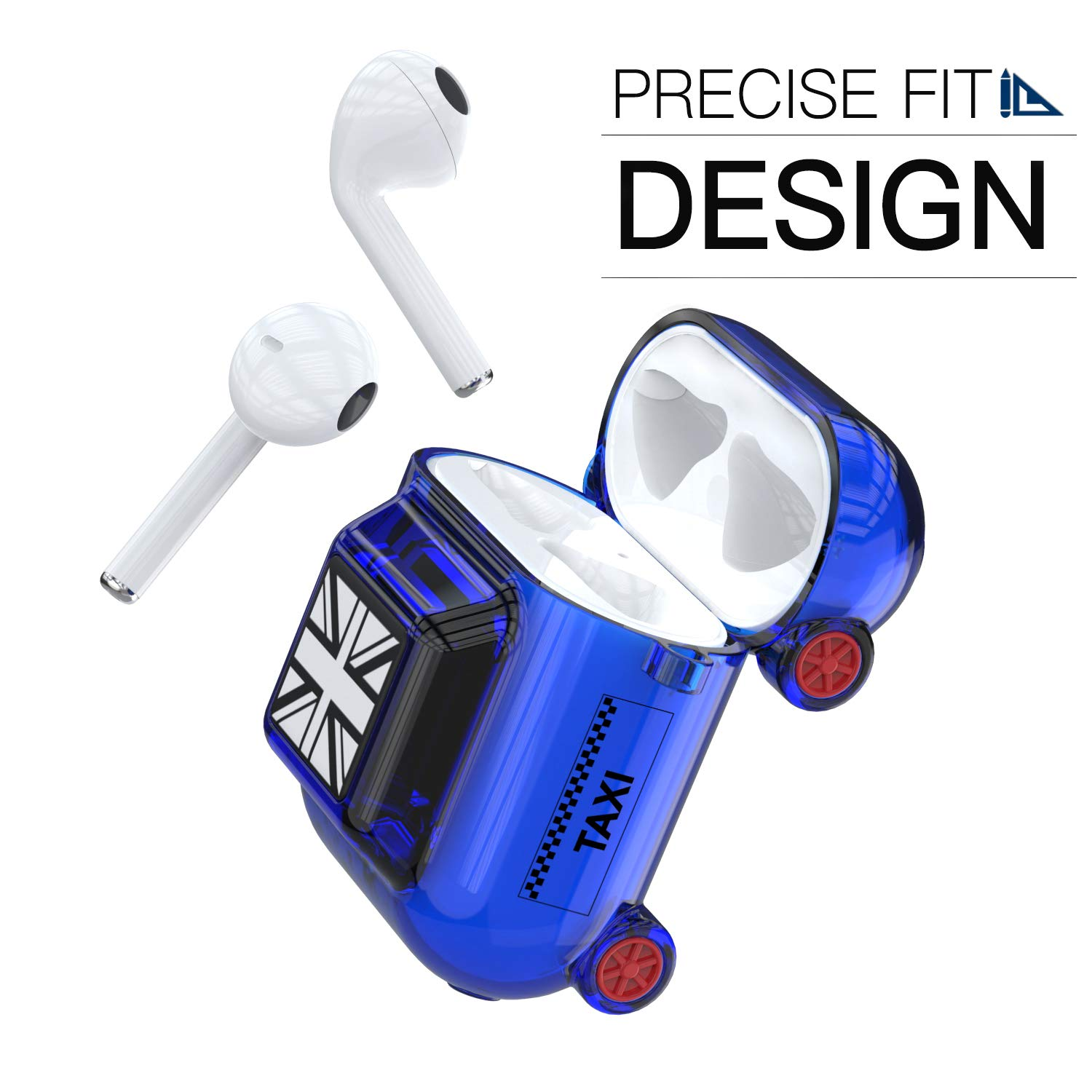 Airpods Case, AOJI Taxi Series Airpod Case Cover, Soft Thick TPU Shockproof Protective Case Compatible with Apple Airpods 1 & 2, Black (Blue)