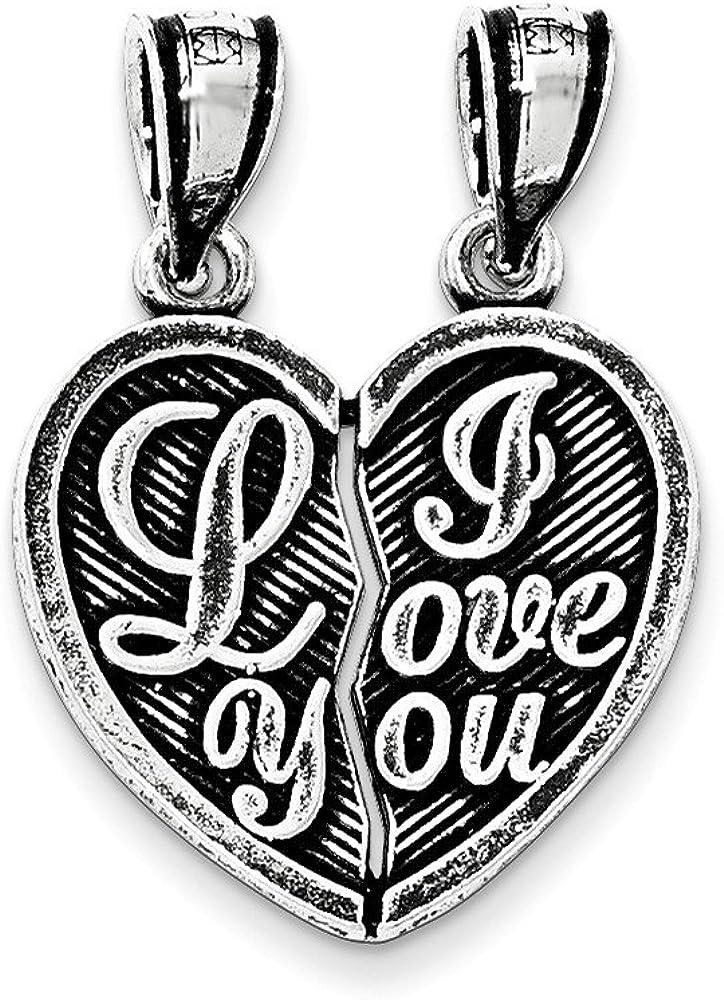 .925 Sterling Silver Antiqued Mini I Love You Break Apart Heart Charm Pendant