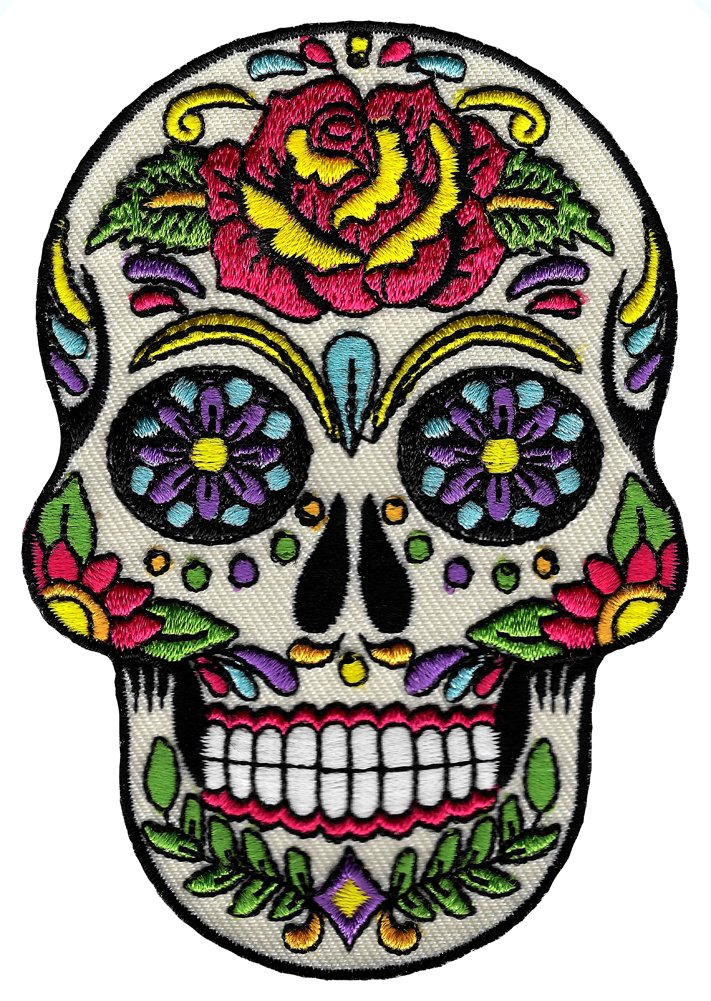 Sugar Skull Calavera Patch Embroidered Iron-On Skeleton Day of the Dead Emblem CYP-02435