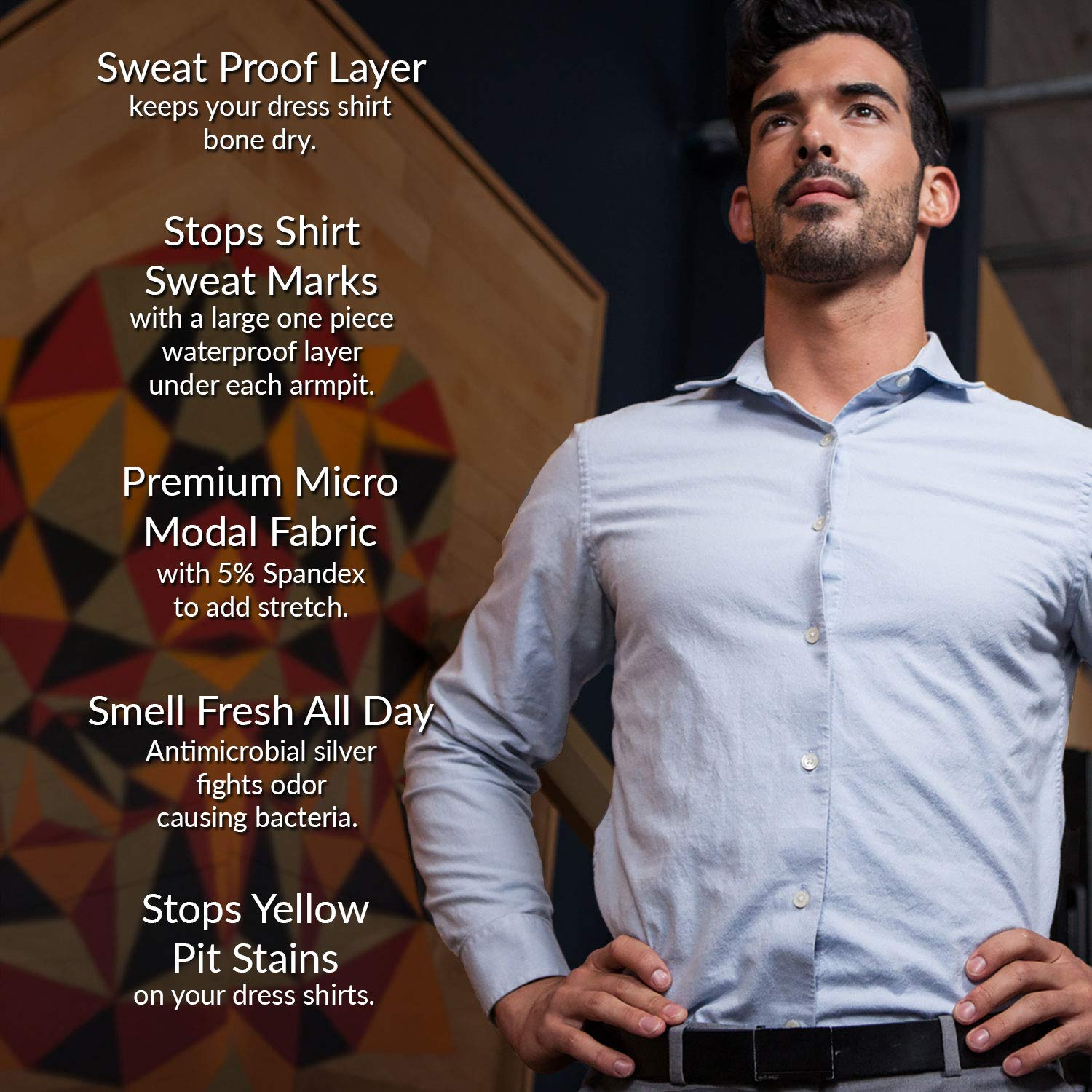 Ejis Sweat Proof Undershirt Men Wsweat Pads Antimicrobial Silver