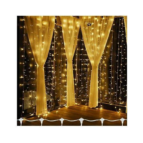 300 - 900 LED Luz Cadena Cortina Bombilla cortina 300 LED blanco ...