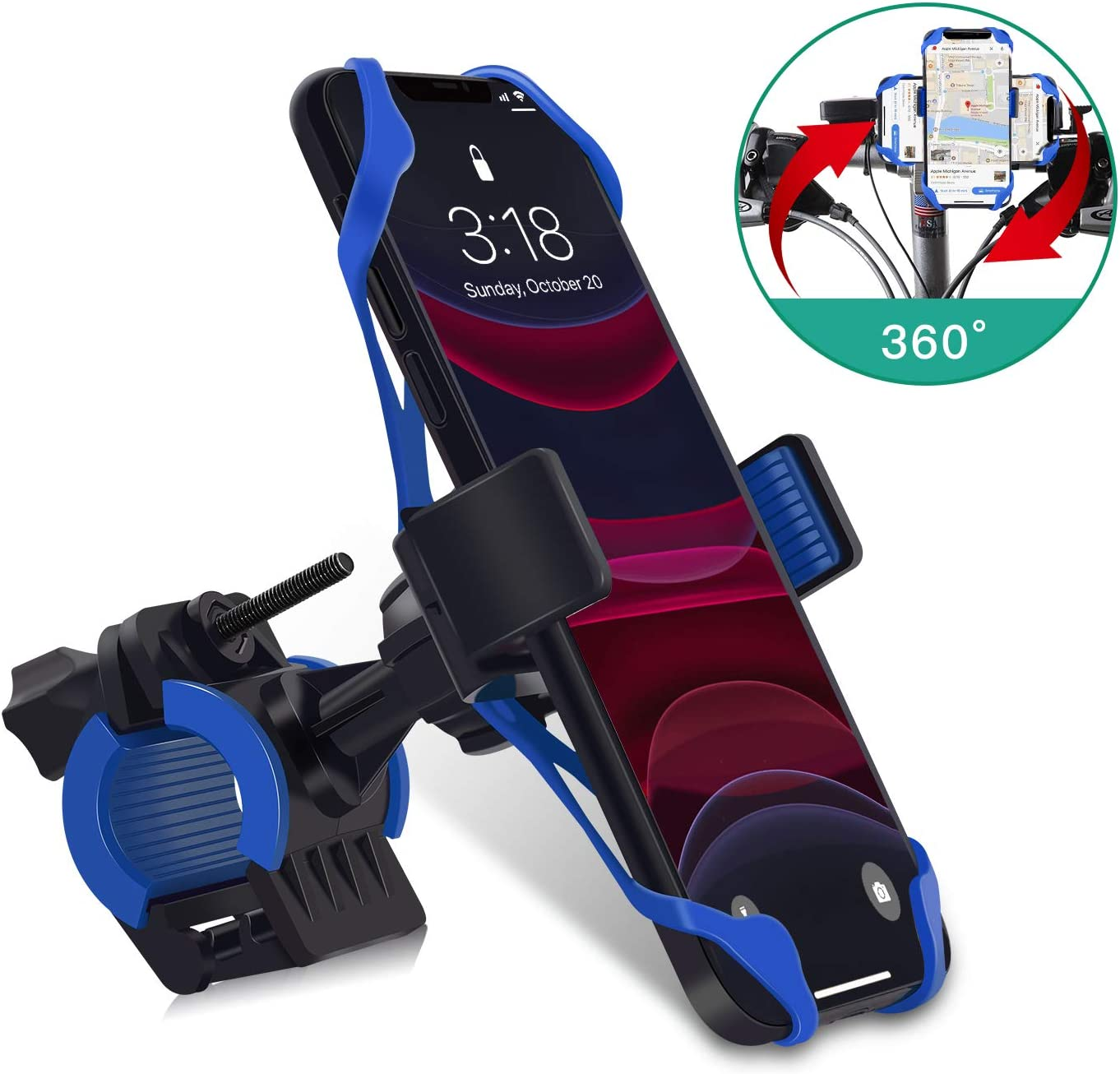 LATSKGN Bike Phone Mount 360° Rotation Universal, Bicycle Motorcycle Phone Mount Holder Stand Cradle Clamp for iPhone X/XR/XS MAX/8/7/6 Plus, Samsung Galaxy S10/S10e/S10/S9 Plus