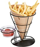 Mind Reader FRYCO3-BLK 3 Pack Fry Stand Dip Compartment, Cone Basket Holder, Perfect for French Fries, Ice Cream & More…