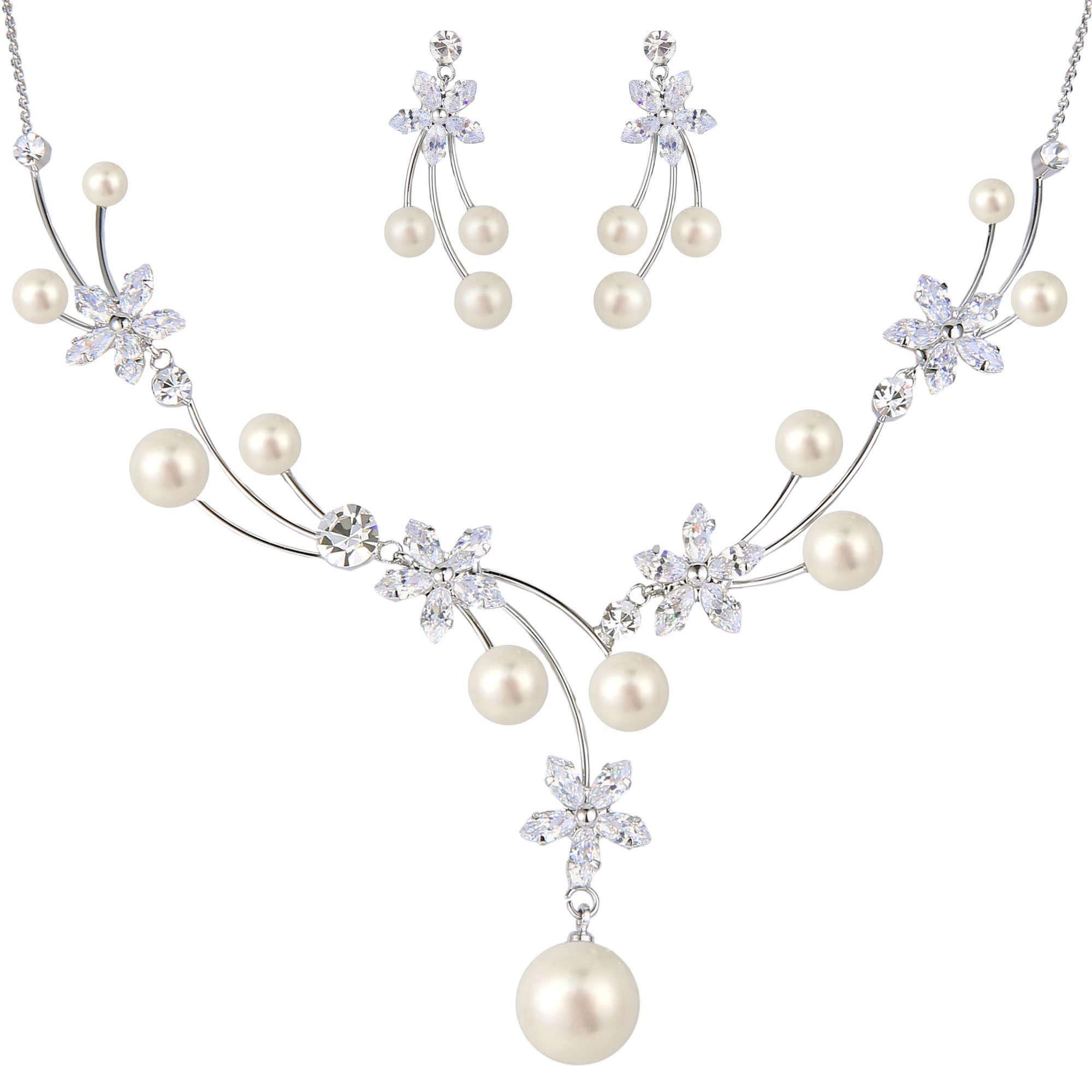 EleQueen Women's Silver-tone CZ Simulated Pearl Flower Filigree Bridal Necklace Earrings Set Ivory Color
