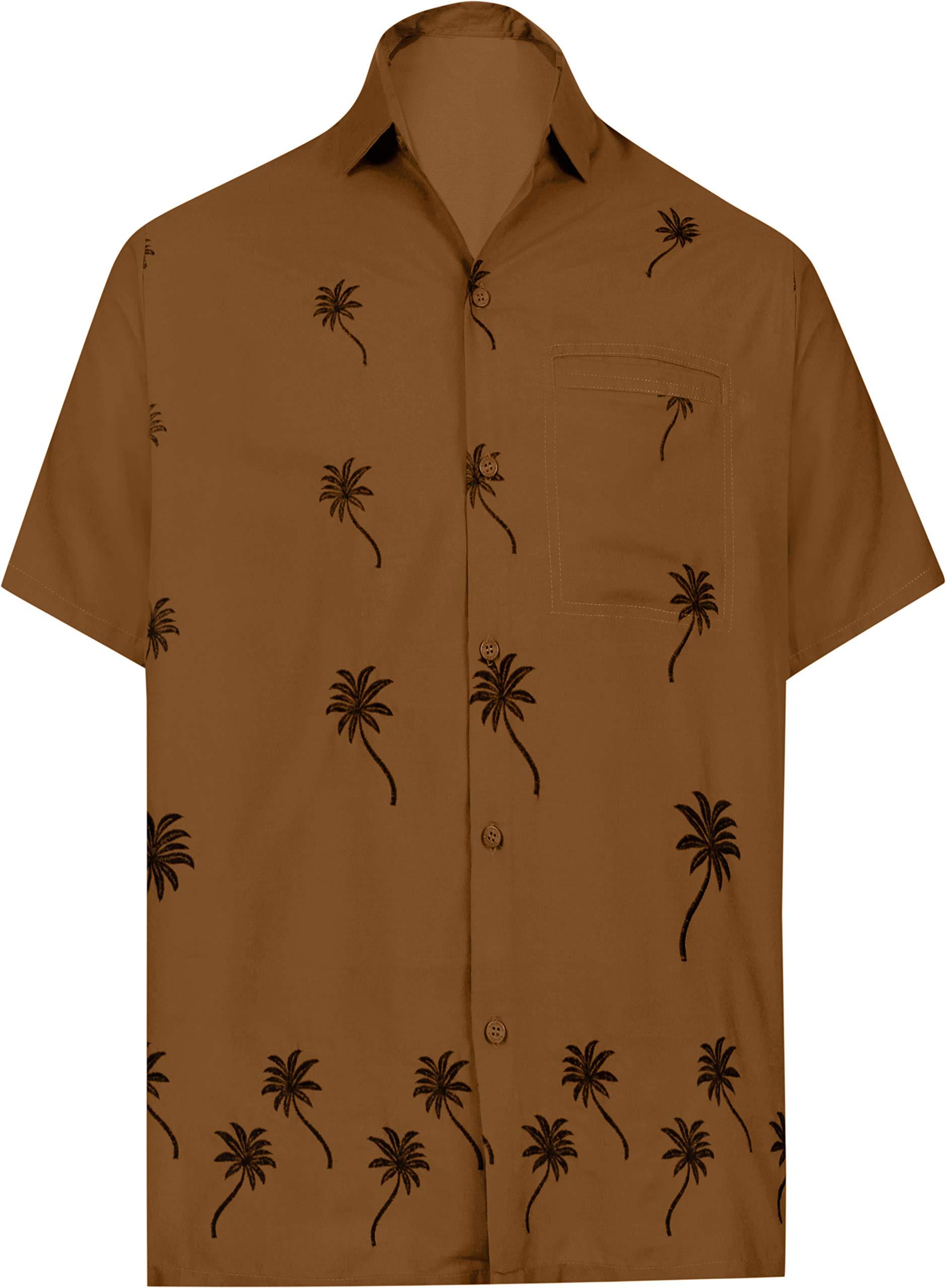 LA LEELA Men's Relaxed Tropical Hawaiian Shirt