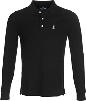 Psycho Bunny Mens Long Sleeve Polo Classic Colored Polo T Shirt