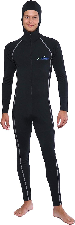 EcoStinger Men's UV Protection Stinger Suit Dive Skin with Hood Chlorine Resistant Black Silver