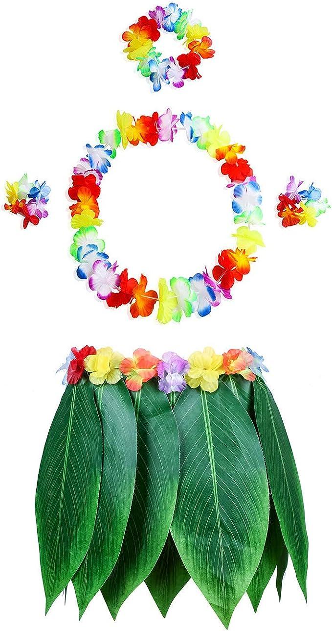 Pangmao Falda de hojas hawaianas con flor fiesta disfraces para ...