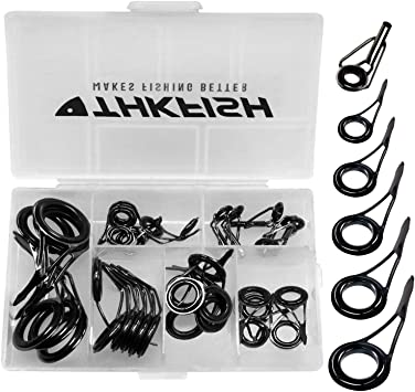 65x Angelrute Pole Guide Tip Top Ring Auge Reparatur Kit Schwarz Silber 13