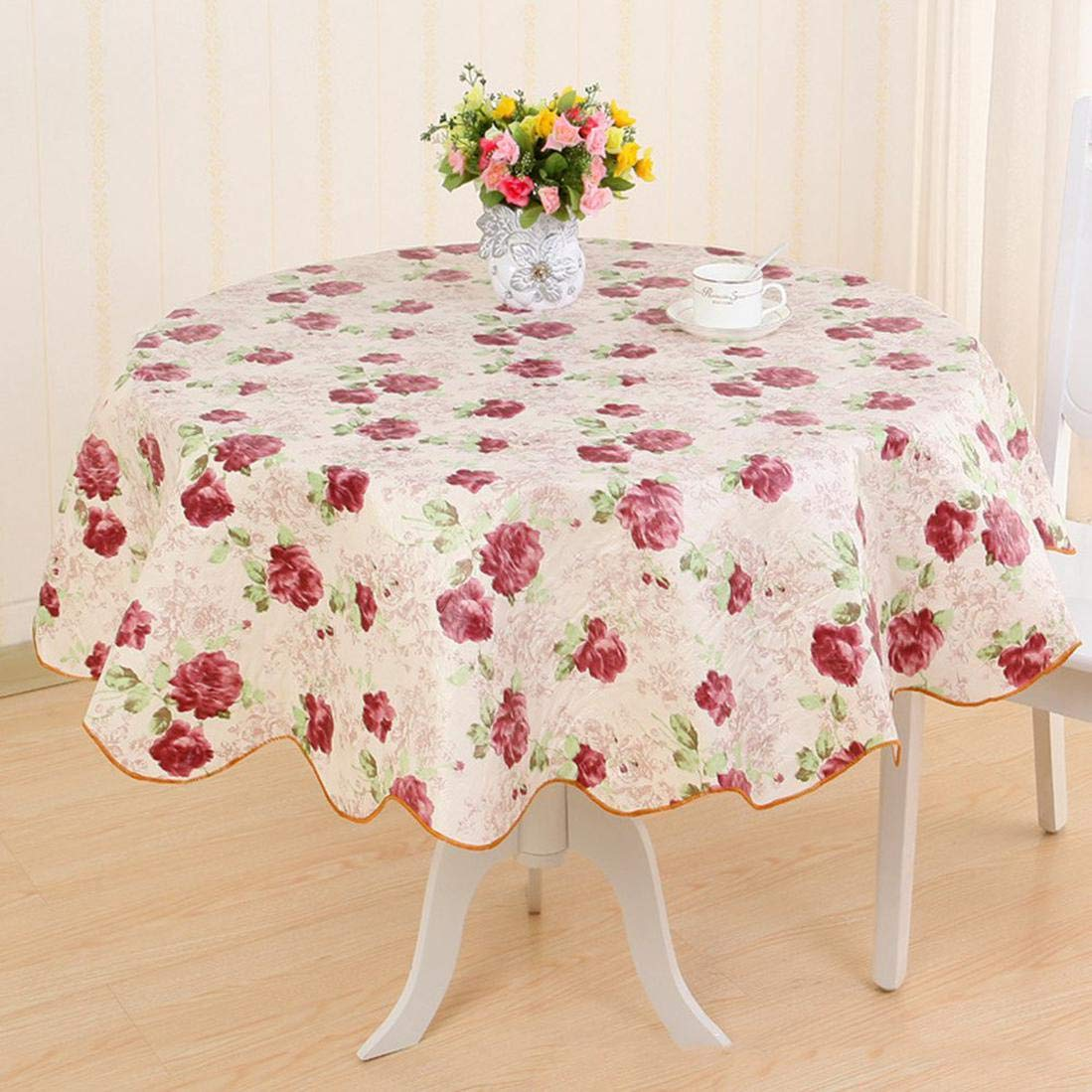 Wipe Clean Vinyl PVC Floral Tablecloth Dining Kitchen Table Cover Round SALE~