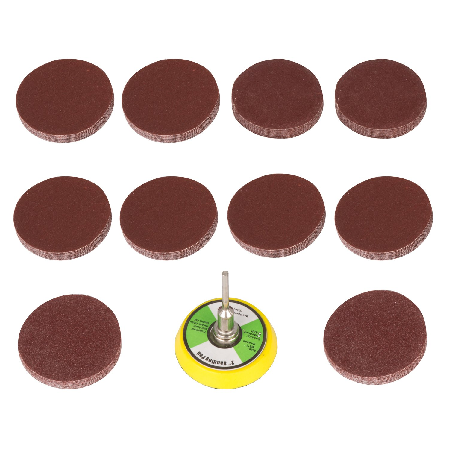 Drill Warehouse 100Pcs 2 inch 60-2000 Grit Dremel Sanding Discs Pad Kit, M6 Backer Plate, with Backer Plate 1/4Inch Shank, for Drill Grinder Rotary Tools