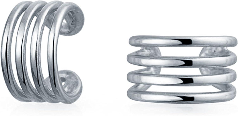 4 Geométrico Minimalista Banda Dividido Clip Puños Envolver Hélice Pendiente Mujer Plata Esterlina 925 Oreja Perforada