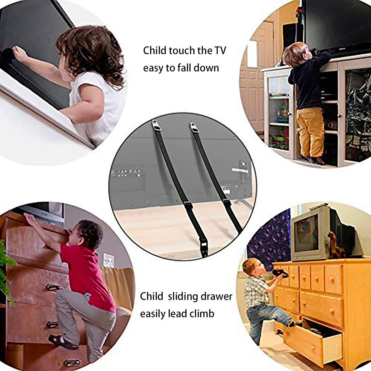Dresser Secure Home Baby Child Proofing for Flat Screen TV Adjustable Safety Tethers Convallaria Furniture//TV Safety Straps 2 Pack, Black Wardrobe Bookshelf Cabinet
