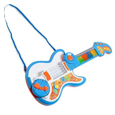 HOMCOM 4 EN 1 Guitarra Infantil Juguete Electrónico Musical Convertible en Piano Tambor Proyector con Luces